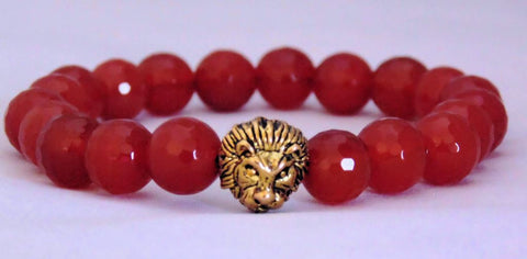 Fidelis Collection - Carnelian and Pewter Lion Head Bracelet
