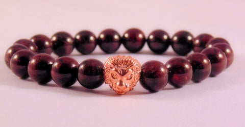 Fidelis Collection - Garnet and Pewter Lion Head Bracelet