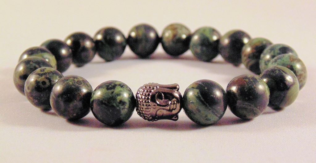 Fidelis Collection - Kambaba Jasper and Pewter Buddha Bracelet