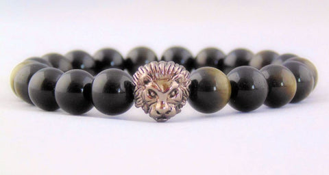 Fidelis Collection - Golden Obsidian and Pewter Lion Head Bracelet