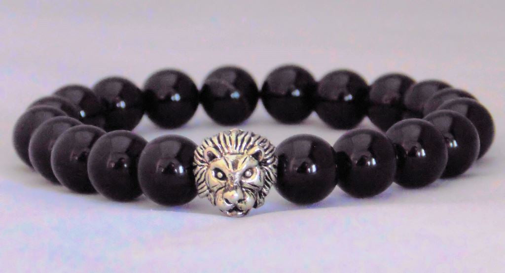 Fidelis Collection - Onyx and Pewter Lion Head Bracelet