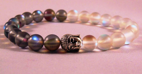 Fidelis Collection - Ying Yang Quartz and Pewter Buddha Bracelet