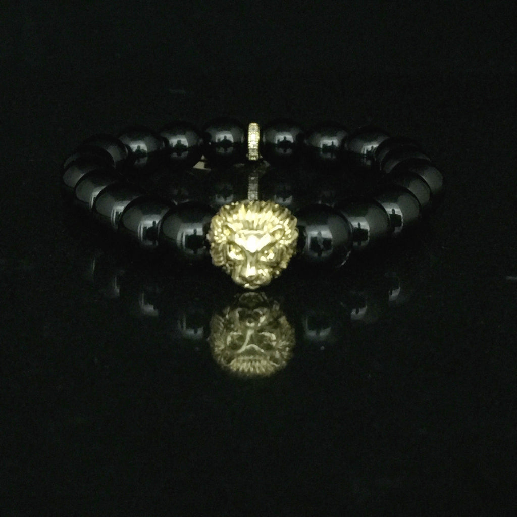 Fidelis II Collection - Black Onyx & Gold Tone Micro Pave Moon Bracelet