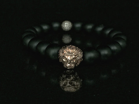 Fidelis II Collection - Matte Black Onyx & Rose Tone Micro Pave Bracelet