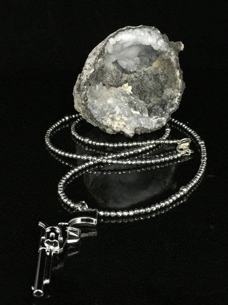 Shooter - Silver Hematite Pendant Necklace