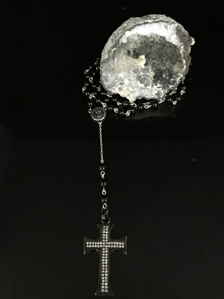 Rosary- Black Onyx, Moonstone & Pave Set Rhinestone Cross