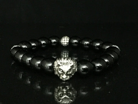 Fidelis II Collection - Black Onyx, Silver Tone Lion Head & Micro Pave Bead Bracelet