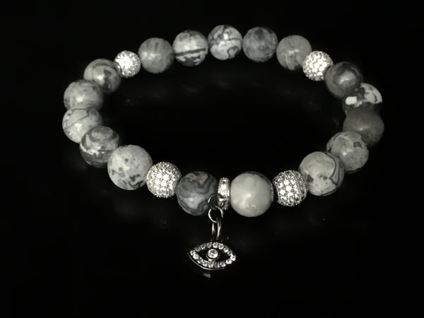 Fidelis II Collection - Picasso Jasper & Micro Pave Evil Eye Bracelet