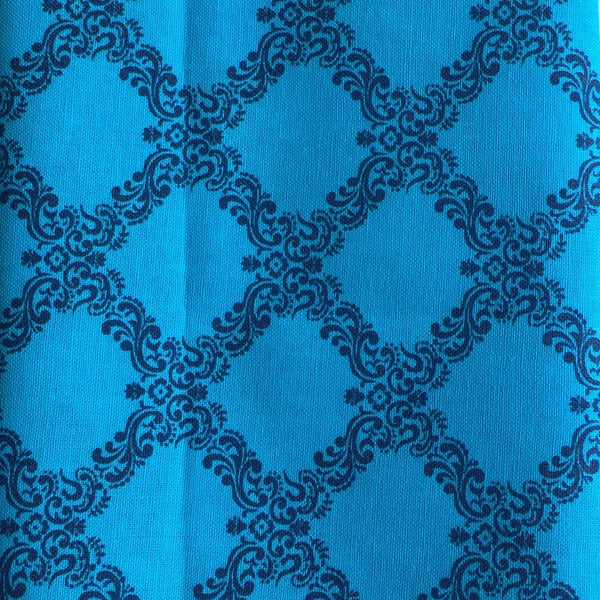 Navy & Teal Square Print Handmade Self Tie Bow Tie and Pocket Square Set