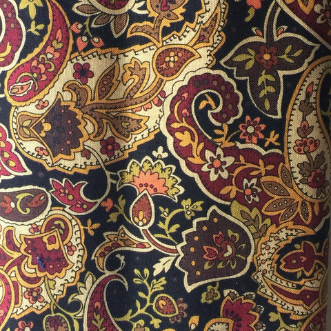 Black & Burgandy Paisley Print Handmade Pocket Square