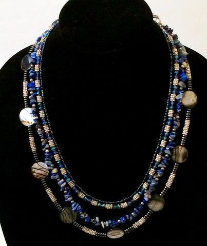 Mila -  Multi-Strand Blue Gemstone Necklace