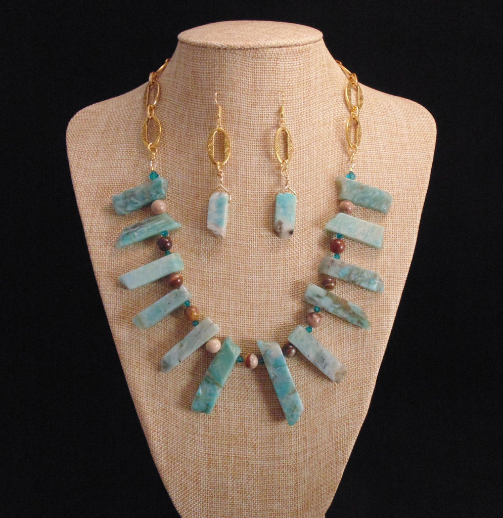 Nairobi - Aquamaine, Petrified Wood & Swarovski Crystal Statement Necklace