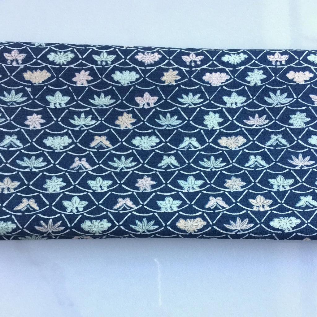 Vintage Navy and Pastel Swallowtail and Butterfly Print Japanese Silk Kimono Fabric Handmade Self Tie Bow Tie