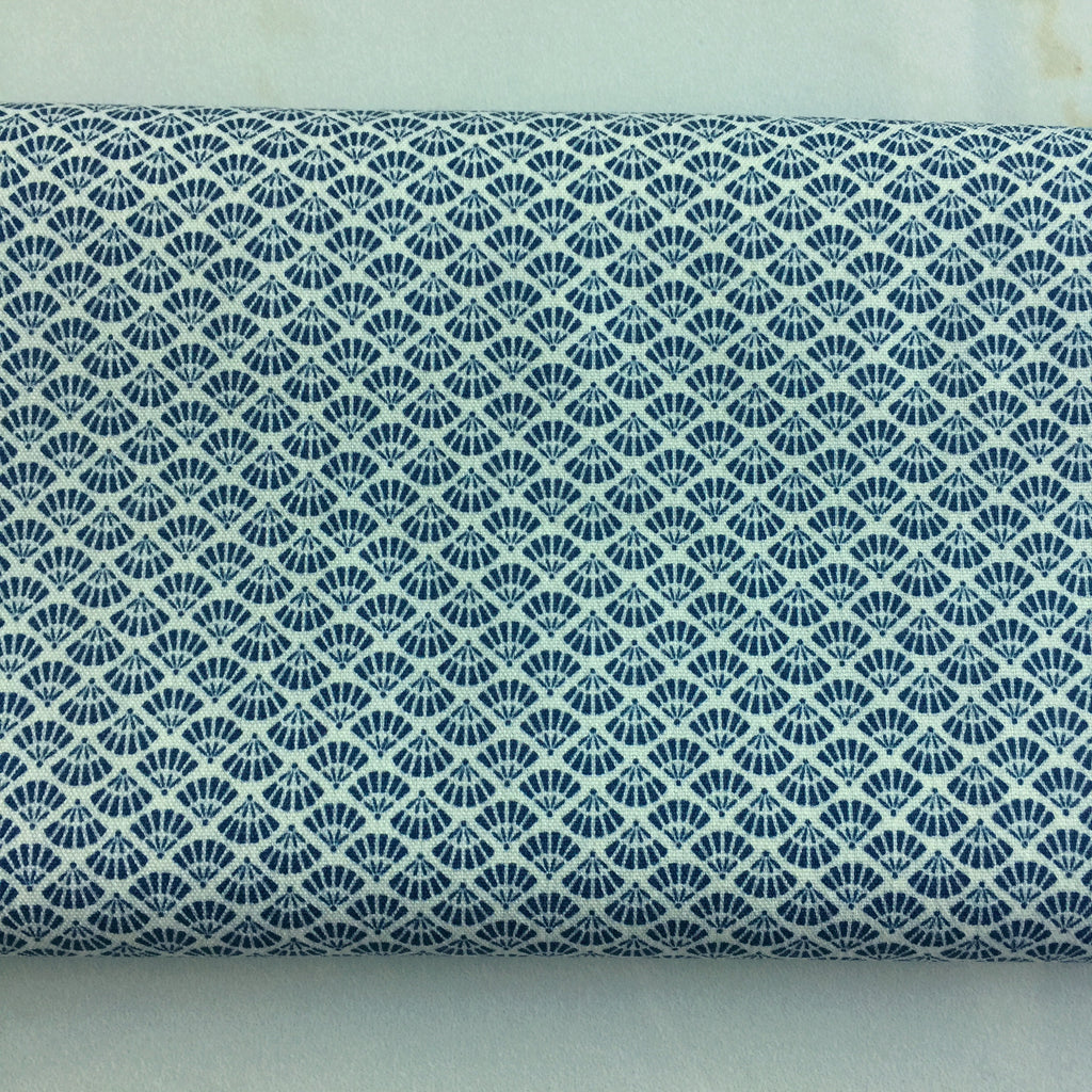 Vintage Tiny Blue Folding Fans Japanese Wool Kimono Fabric Handmade Self Tie Bow Tie
