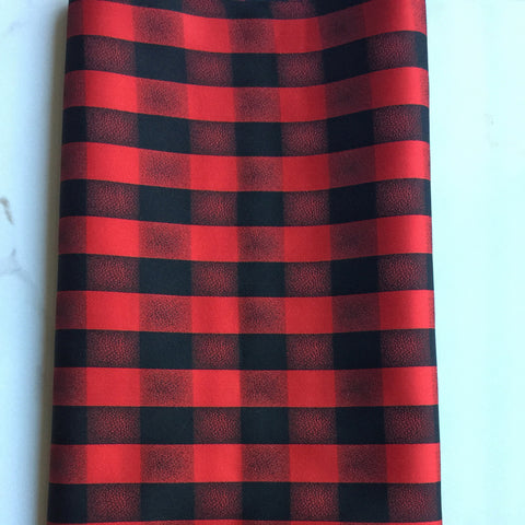 Vintage Black and Red Plaid Japanese Silk Kimono Fabric Handmade Self Tie Bow Tie