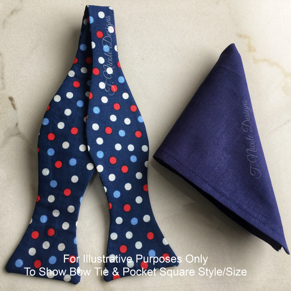 Navy & White Geometric Print Handmade Pocket Square Set