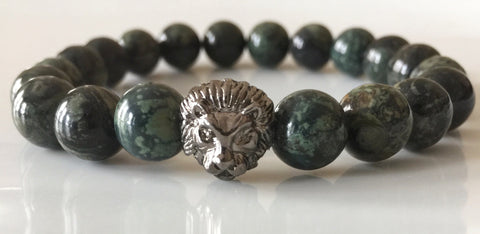 Fidelis Collection - Kambaba Jasper and Pewter Lion Head Bracelet