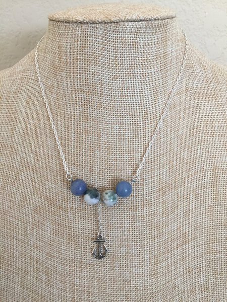 Anchors Away - Anchor Charm and Gemstone Pendant Necklace