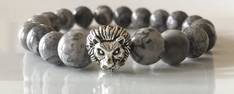 Fidelis Collection - Picasso Jasper and Pewter Lion Head Bracelet