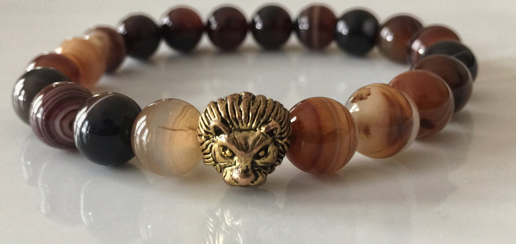 Fidelis Collection - Brown Onyx and Pewter Lion Head Bracelet