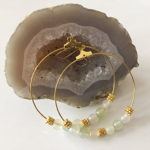 Brass Jade Gemstone and Goldtone Pewter Daisy Hoop Earrings