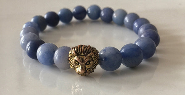 Fidelis Collection - Aventurine and Pewter Lion Head Bracelet