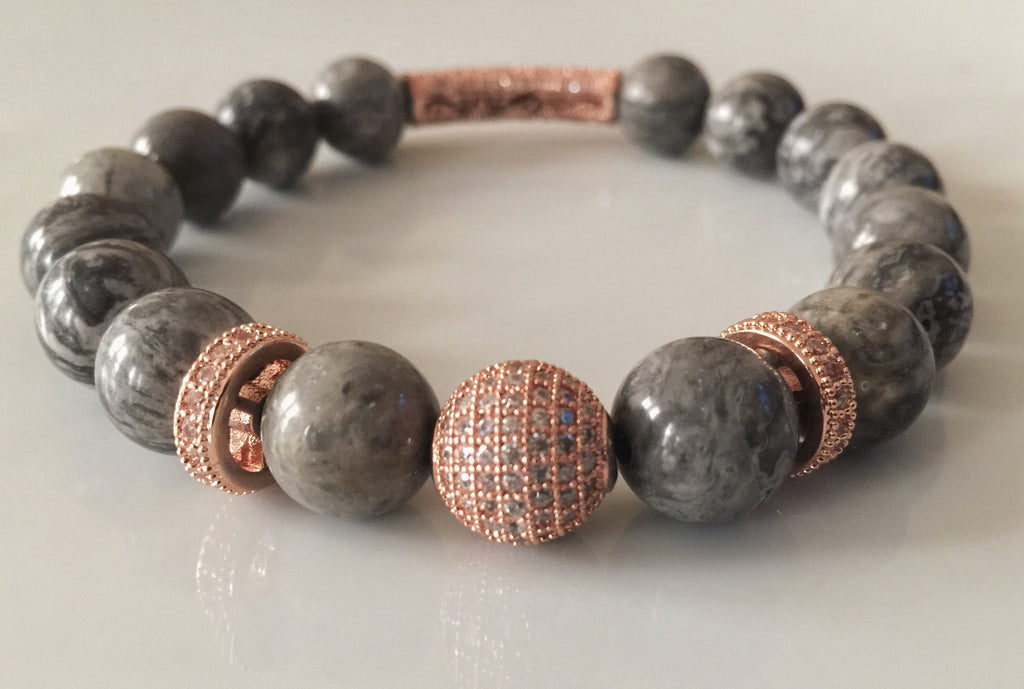 Granite Haze - Picasso Jasper & Micropave Bead Bracelet - Limited Edition