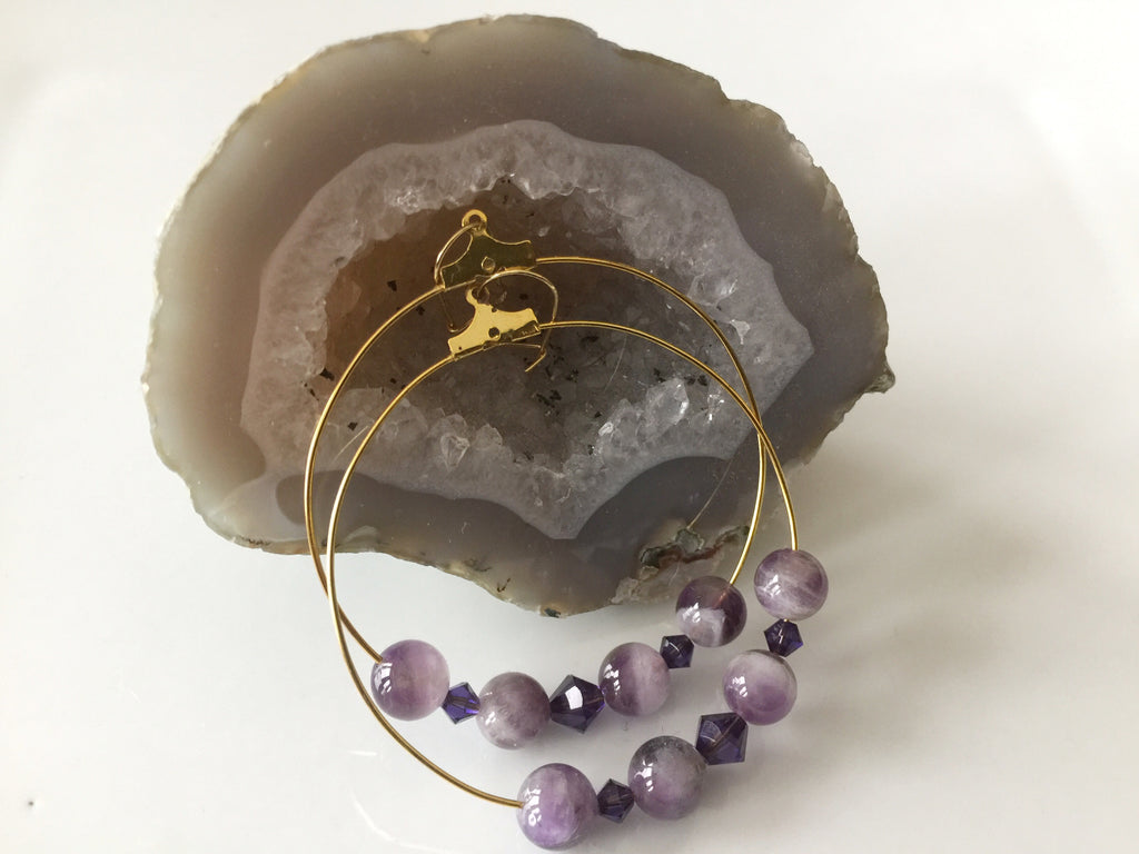 Brass Amethyst Gemstone and Purple Velvet Swarovski Crystal Hoop Earrings