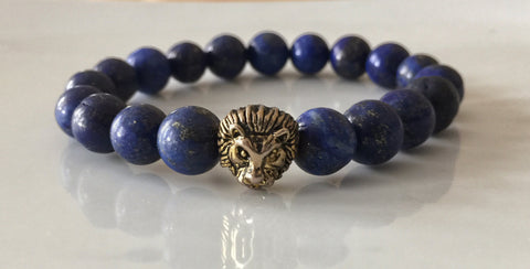 Fidelis Collection - Lapis Lazuli and Pewter Lion Head Stretch Bracelet