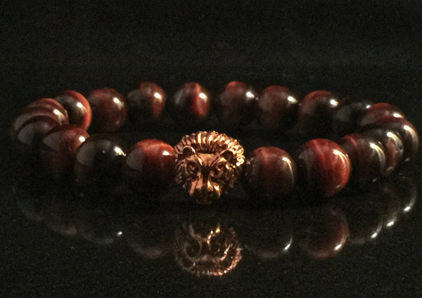 Fidelis Collection - Tigers Eye and Pewter Lion Head Stretch Bracelet