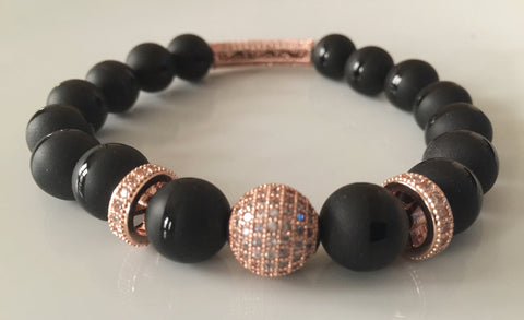 Black Rose - Matte Onyx & Pave Bead Bracelet - Limited Edition