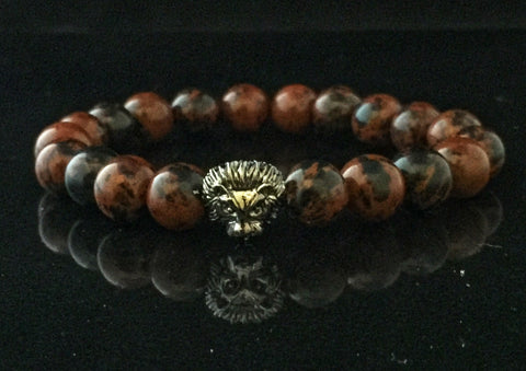 Fidelis Collection - Mahogany Jasper and Pewter Lion Head Bracelet