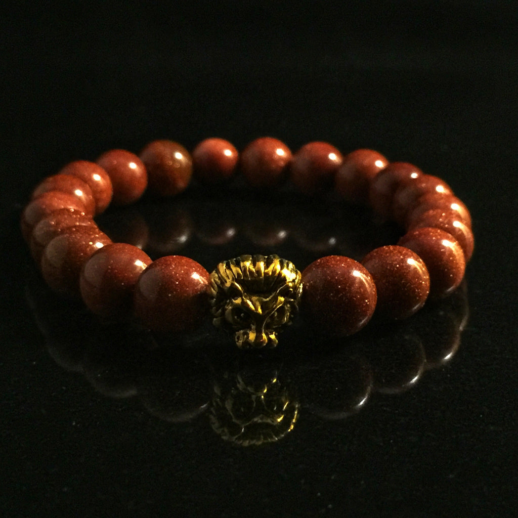 Fidelis Collection - Sunstone and Pewter Lion Head Bracelet