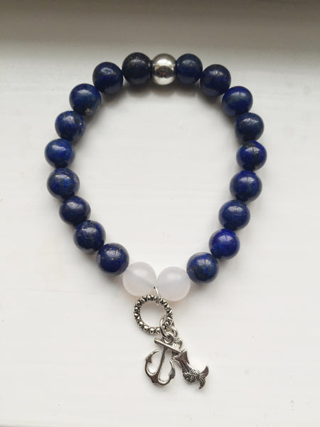Nautical Fantasy - Pewter Anchor & Mermaid Gemstone Stretch Bracelet