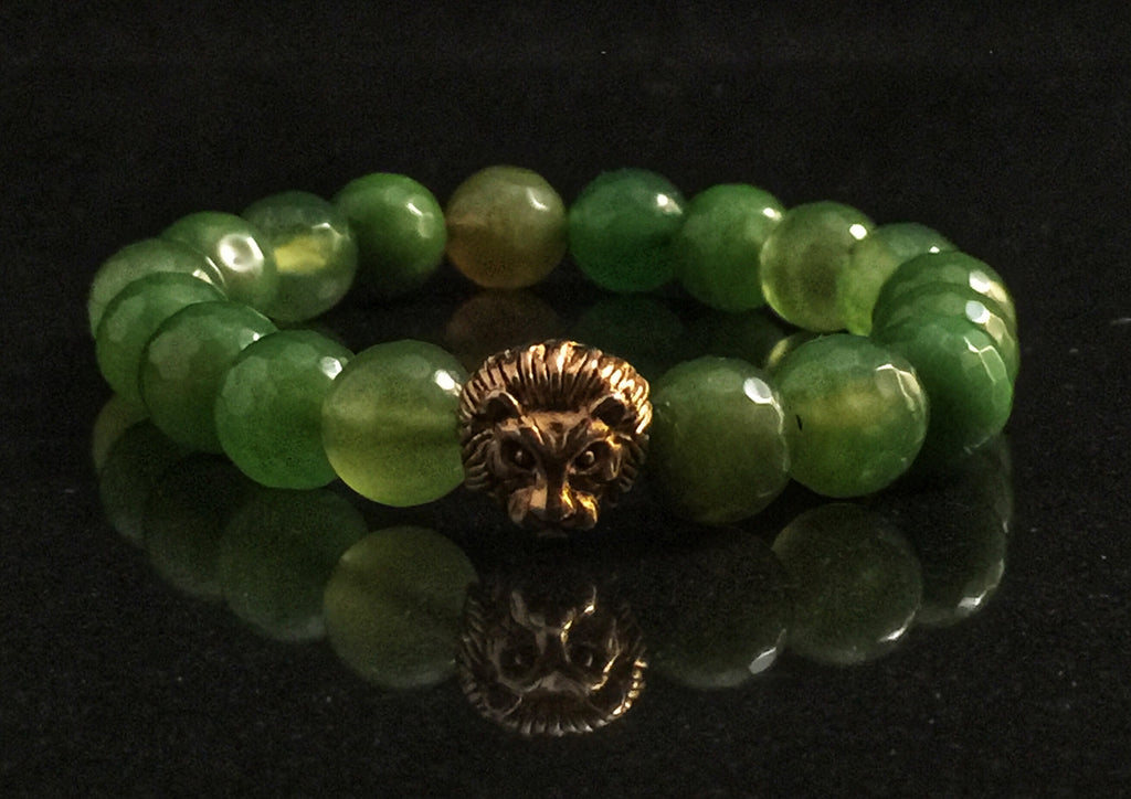 Fidelis Collection - Green Candy Jade and Pewter Lion Head Bracelet