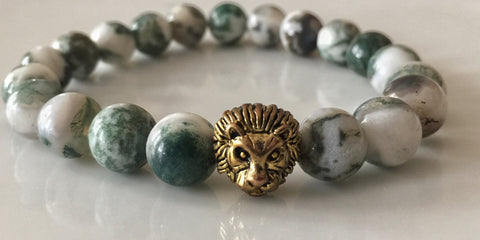 Fidelis Collection - Bark Jasper and Pewter Lion Head Bracelet