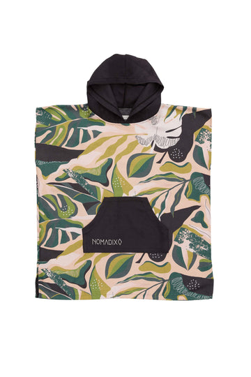 Monstera Green Pink Changing Poncho Kids