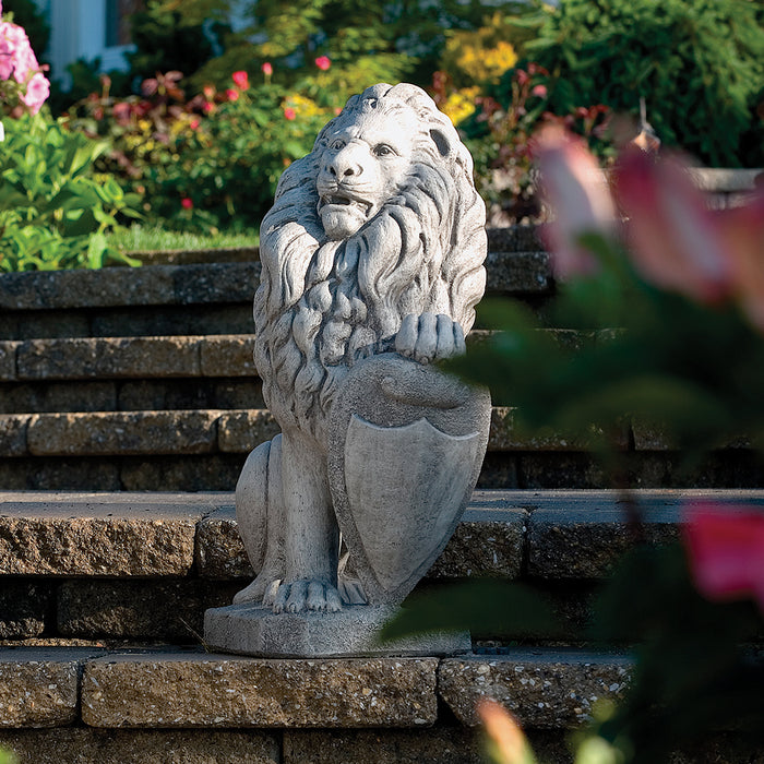 "27"" Lion Statue with Shield"