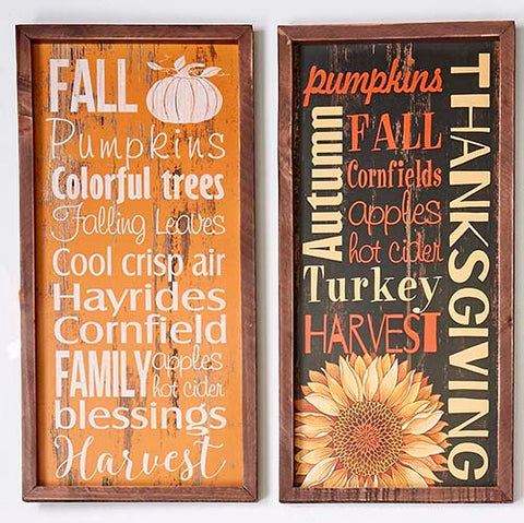 "19.5""x10.5"" Wood Autumn Sign"