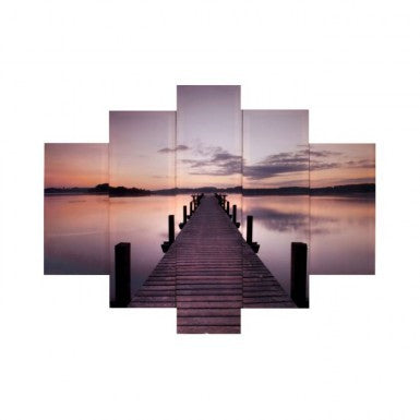 Canvas Sunrise Lake Panel Print