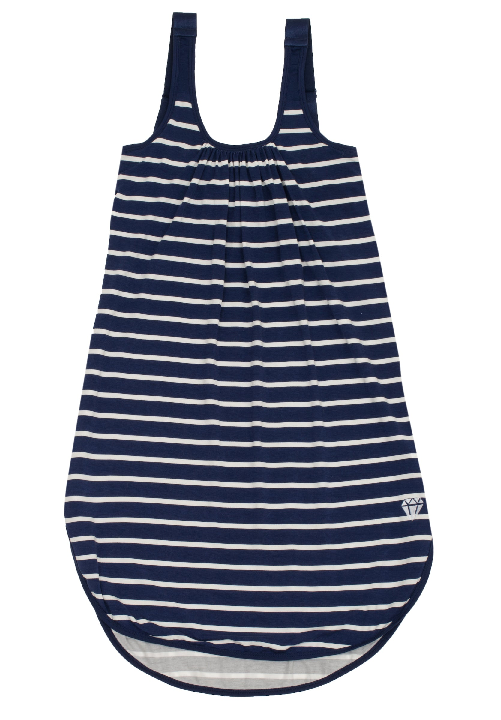 Navy and White Striped Gown