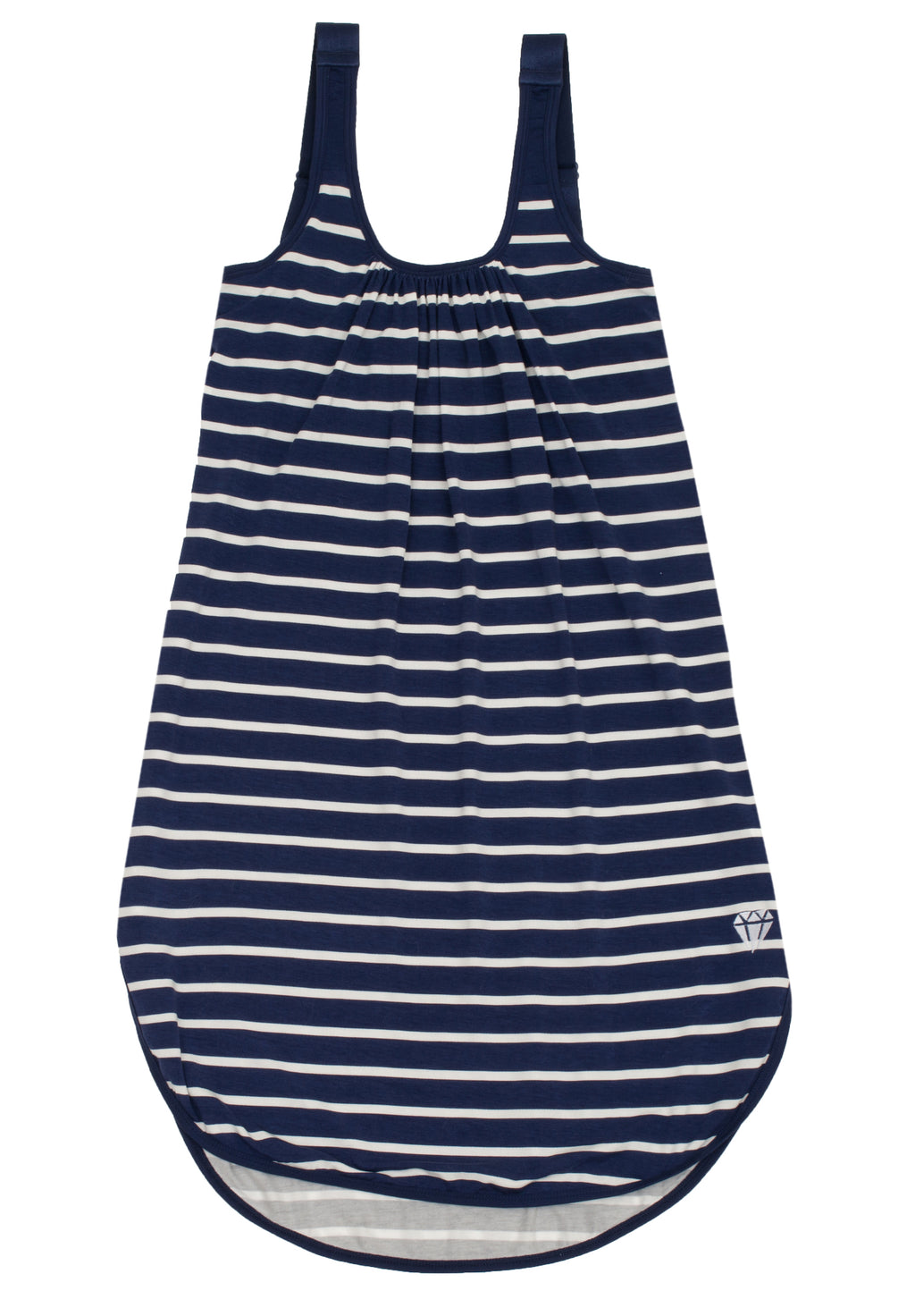 private holdings navy and white striped gown
