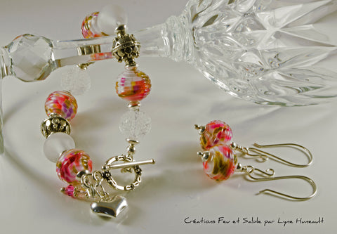 Spring Colours Bracelet and Earrings Set - Glass and Sterling Components