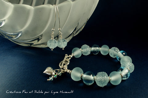 Glass and Sterling Silver Bracelet and Earring Set - Pale Teal 3 Ways