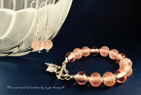 Glass and Sterling Silver Bracelet & Earring Set - Peach 3 Ways