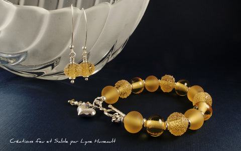 Glass and Sterling Silver Bracelet and Earring Set - Gold 3 Ways