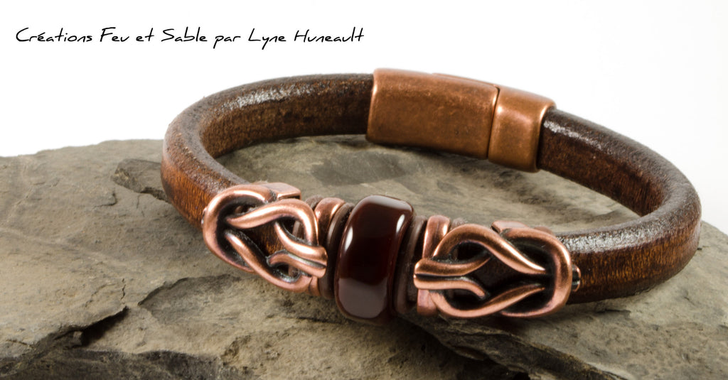 Unixex or men's Regaliz Brown Leather Bracelet with Lampwork Glass Bead and Antique Copper beads & Clasp by Fire and Sand Creations