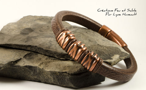 Brown Textured Leather and Antique Copper