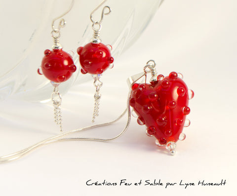 Textured Red Earrings with Sterling Dangles