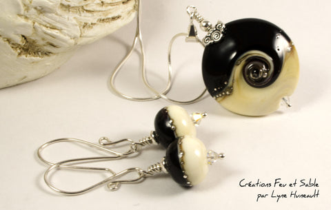 Ivory and Black with Swarovski and Silver Droplets - Sterling silver